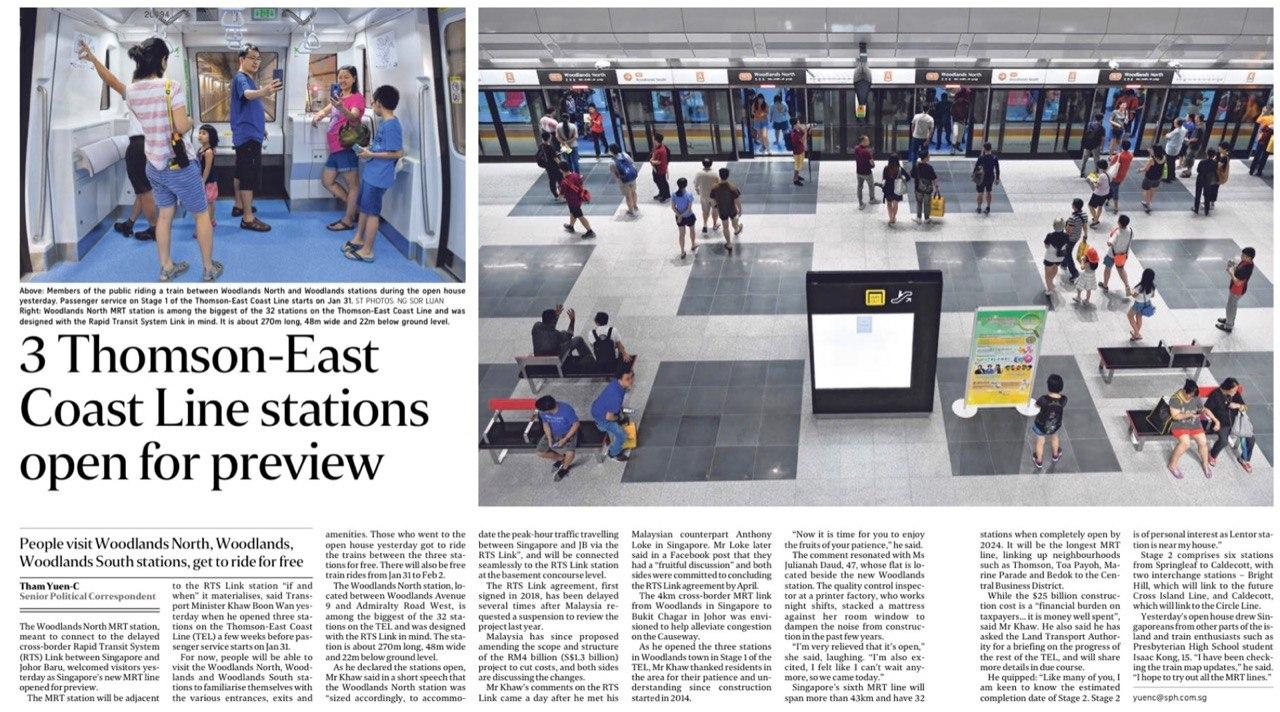 The-landmark-3 Thomson East Coast Line Stations Open for Preview-Singapore